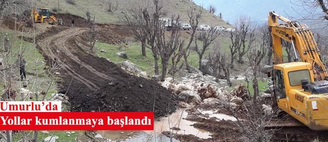 Umurlu'da Yollar kumlanmaya başlandı